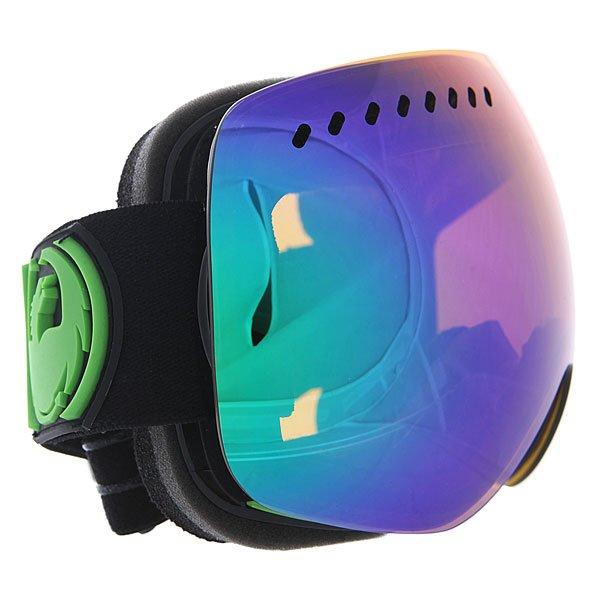 Маска для сноуборда Dragon Apxs Jet/Green Ion + Yellow Blue IonТехнические характеристики:  Цилиндрическая  форма линз.  Infinity Lens Technology  обеспечивает максимальный обзор. Технология антибликового защитного покрытия линз (на 100% защищает от ультрафиолетового излучения (блокирует вредное UVA, UVB, UVC излучение, а также ультрафиолетовое излучение до 400 NM).  Технология антизапотевания линзы Super Anti-Fog.  Оптически корректные линзы. Гибкая оправа из полиуретана.  Внутреннее покрытие из защитной двойной формирующей пены для лучшего прилегания маски к лицу и потоотведения.  В месте соприкосновения с лицом дополнительный слой нежного поглощающего влагу флиса Polartec. Линзы с устойчивым к царапинам покрытием. Регулируемый ремешок с накладкой против скольжения.  Совместимость со всеми видами шлемов.  Оптимизирована для средней и большой формы лица. Светопередача –13-15% (устраняет яркий, резкий солнечный свет).  Дополнительная сменная линза в комплекте (Светопередача – 48-57%, подходит для меняющихся условий освещения от слабого освещения до облачной погоды, добавляет четкости и защищает от яркого света.)<br><br>Цвет: синий<br>Тип: Маска для сноуборда<br>Возраст: Взрослый<br>Пол: Мужской