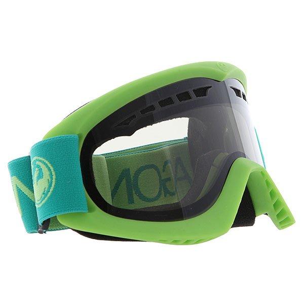 Маска для сноуборда Dragon Dx Aqua/Smoke + YellowТехнические характеристики:  Цилиндрическая  форма линз.  Двойная конструкция линзы из лексана.  Технология антибликового защитного покрытия линз (на 100% защищает от ультрафиолетового излучения (блокирует вредное UVA, UVB, UVC излучение, а также ультрафиолетовое излучение до 400 NM).  Технология антизапотевания линзы Super Anti-Fog.  Вентиляционные отверстия сверху маски.  Гибкая оправа из полиуретана.  Внутреннее покрытие из защитной двойной формирующей пены для лучшего прилегания маски к лицу и потоотведения.  В месте соприкосновения с лицом дополнительный слой нежного поглощающего влагу флиса  Polartec. Линзы с устойчивым к царапинам покрытием. Регулируемый ремешок с накладкой против скольжения.  Совместимость со всеми видами шлемов.  Оптимизирована для средней и большой формы лица.  Светопередача –25.9-28.6% (подходит для яркого солнца, добавляет четкости и убирает блики).  Дополнительная сменная линза в комплекте (Светопередача – 79%, подходит для вечернего катания и катания в условиях плохой видимости.)<br><br>Цвет: зеленый<br>Тип: Маска для сноуборда<br>Возраст: Взрослый<br>Пол: Мужской