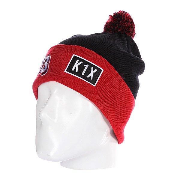 Шапка с помпоном K1X Bommel Beanie Black/Red<br><br>Цвет: черный,красный<br>Тип: Шапка<br>Возраст: Взрослый<br>Пол: Мужской