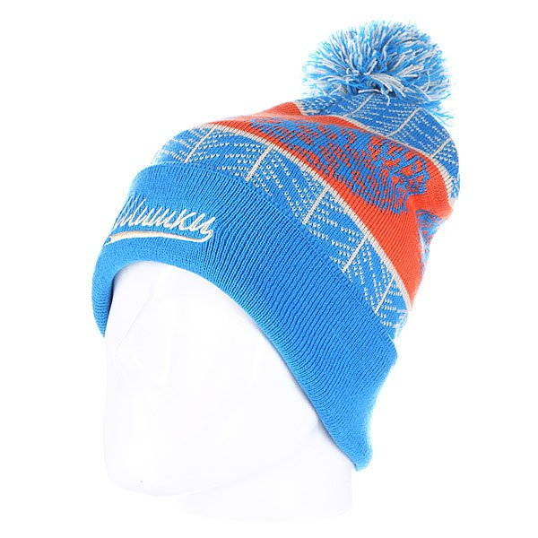 Шапка с помпоном Запорожец Cone Beanies Blue<br><br>Цвет: голубой,оранжевый<br>Тип: Шапка<br>Возраст: Взрослый<br>Пол: Мужской