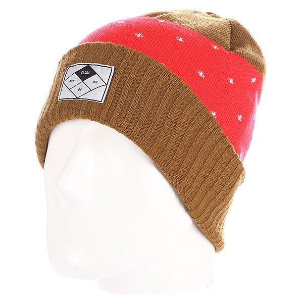 Шапка Globe Laudo Beanie Stone<br><br>Цвет: коричневый,красный<br>Тип: Шапка<br>Возраст: Взрослый<br>Пол: Мужской