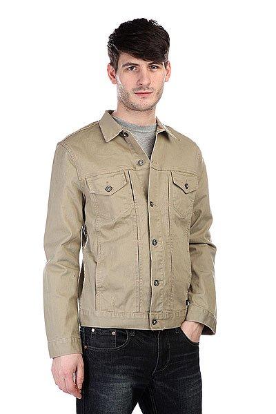Куртка Globe Goodstock Jacket StoneТехнические характеристики: Верх из комбинации хлопка и эластана. Без внутренней подкладки.  Застежка – пуговицы по всей длине. Классический воротник. Два боковых прорезных кармана для рук.  Фасон: стандартный (regular fit).<br><br>Цвет: бежевый<br>Тип: Куртка<br>Возраст: Взрослый<br>Пол: Мужской