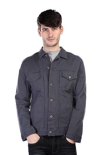 Куртка Globe Goodstock Jacket SlateТехнические характеристики: Верх из комбинации хлопка и эластана. Без внутренней подкладки.  Застежка – пуговицы по всей длине. Классический воротник. Два боковых прорезных кармана для рук.  Фасон: стандартный (regular fit).<br><br>Цвет: синий<br>Тип: Куртка<br>Возраст: Взрослый<br>Пол: Мужской
