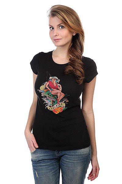 купить Футболка женская Nor Cal Country Girl Cap Sleeve Black по цене 2400 рублей