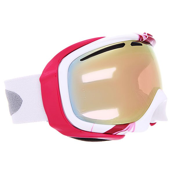 Маска для сноуборда женская Oakley Elevate Ysc Breast Cancer W/Vr50 PinkТехнические характеристики:  Устойчивый к царапинам фильтр PLUTONITE® на 100% защищает от ультрафиолетового излучения (блокирует вредное UVA, UVB, UVC излучение, а также ультрафиолетовое излучение до 400 NM).   Двойные вентилируемые линзы полуплоской формы. Технология высокой оптической корректности линз High Definition Optics.  Антибликовая технология тонирования Iridium.  Технология антизапотевания линз F3 anti-fog.  Внутренняя устойчивая структура.  Регулируемый силиконовый ребристый ремешок.  Гибкая оправа из запатентованного материала O-Matter на основе нейлона и карбоновых волокон.  Оптимизирована для маленькой и средней формы лица.  Светопередача – 35%, для условий переменной облачности.<br><br>Цвет: розовый<br>Тип: Маска для сноуборда<br>Возраст: Взрослый<br>Пол: Женский