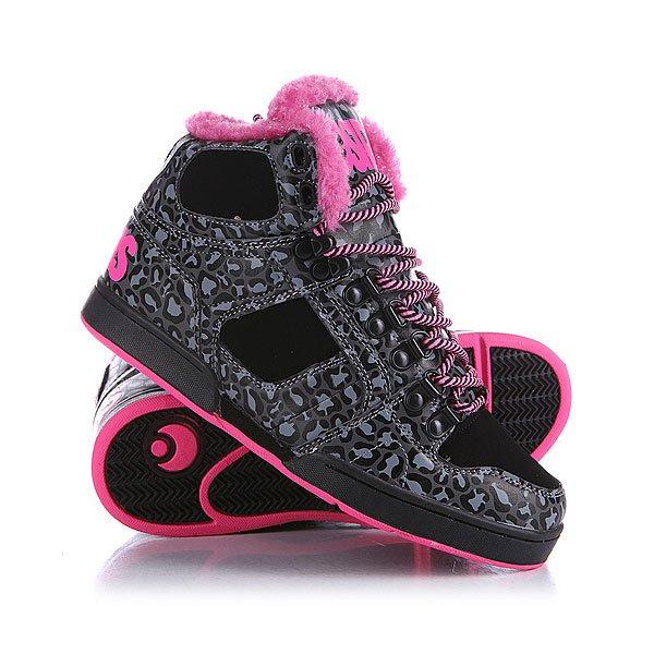 Кеды кроссовки утепленные женские Osiris Nyc Shr Black/Pink/Chek