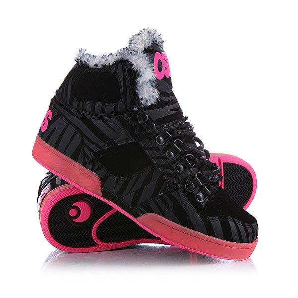 Кеды кроссовки утепленные женские Osiris Shr Black/Zebra/Pink