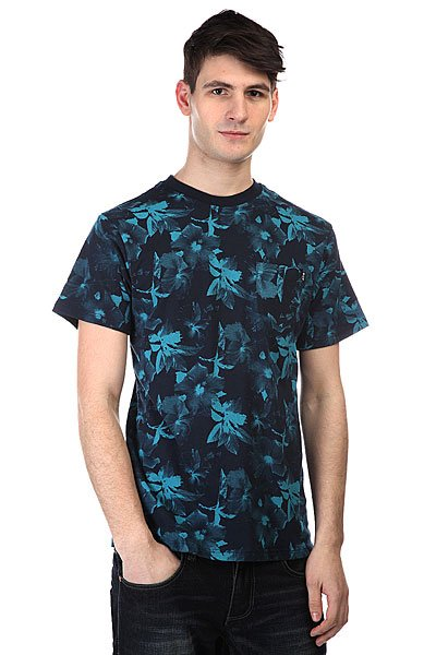 Футболка Huf Floral Pocket Tee Navy/Jade huf футболка huf hail mary pocket tee royal