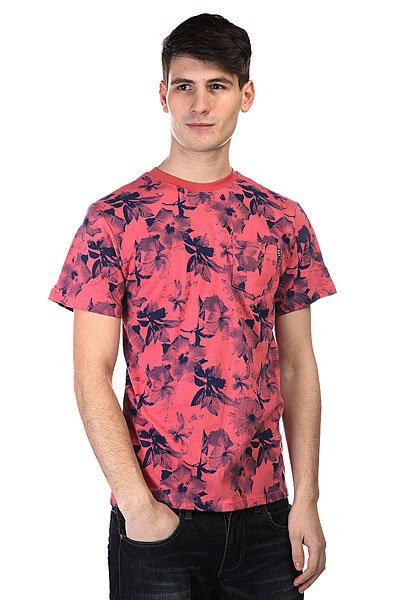 Футболка Huf Floral Pocket Tee Salmon Navy