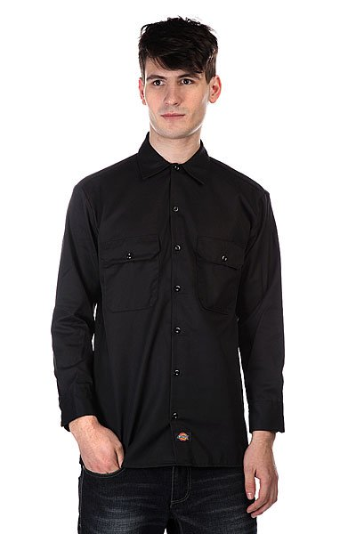 Рубашка Dickies Long Sleeve Work Shirt Black dickies рубашка утепленная dickies ryker shirt jacket fiery red