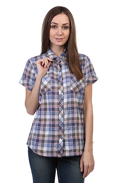 Рубашка в клетку женская Dickies Ss Plaid Shirt Rainstorm Olive Plaid рубашка в клетку dc kalis plaid ls wvtp kalis plaid chili pepper