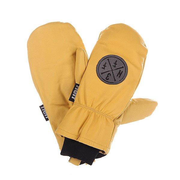 Варежки сноубордические Neff Work TanХарактеристики: Утепленная внутренняя матовая антимикробная подкладка.  Эластичная внутренняя конструкция.  Эластичные лайкровые манжеты с ребристой поверхностью.  Система крепления к сноубордическим штанам. Логотип на внешней стороне перчатки.<br><br>Цвет: желтый<br>Тип: Варежки сноубордические<br>Возраст: Взрослый<br>Пол: Мужской