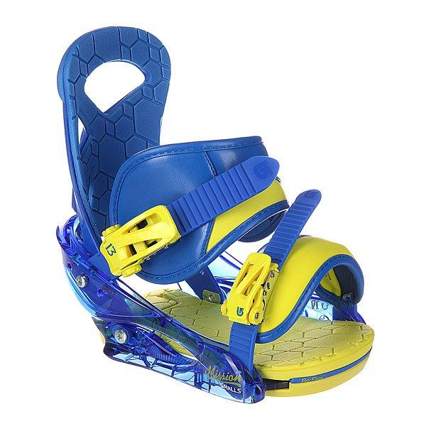 Крепления для сноуборда детские Burton Mission Smalls Next Level BlueСамая высокая скорость сноубордиста достигает 126 миль в час. Мы не предлагаем вам попробовать развить такую скорость, однако нам бы хотелось знать, что в креплениях для сноуборда Burton Mission такая скорость вам не страшна. Усовершенствованная система фиксирующих ремней позволяет переключаться между режимами катания – от легкой подвижности ноги до рекордно-устойчивой поддержки. Скорость так подходит вам, попробуйте ее вместе с Burton Mission!  Характеристики:     База из высокопрочного алюминия. Наполнитель базы – 30% стеловолокна+нейлон. Хай-бэк в виде цельного скошенного подвижного стержня (система DialFLAD ™). Переключаемые ремни Asym ™. Двойные фиксирующие ремни с системой скольжения Smooth Glide™(гладкое скольжение ремней). Новая система амортизации (система полного поглощения шума для улучшения амортизации FullBED-формованный полиуретан в основе стельки).<br><br>Цвет: желтый,синий<br>Тип: Крепления для сноуборда<br>Возраст: Детский
