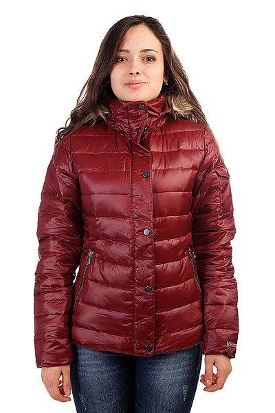 Куртка женская Marmot Wms Hailey Jacket SyrahТехнические характеристики: Верх из 100% нейлона.  Внутренняя подкладка из тафты. Воротник-стойка.  Застежка-молния по всей длине. Утеплитель – гусиный пух.  Съемный капюшон с отделкой из искусственного меха.  Внутренний потайной карман. Прорезные карманы для рук.  Фасон: стандартный (regular fit).<br><br>Цвет: бордовый<br>Тип: Куртка<br>Возраст: Взрослый<br>Пол: Женский