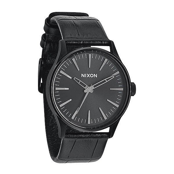 Часы Nixon Sentry 38 Leather Black Gator часы nixon re run leather all black