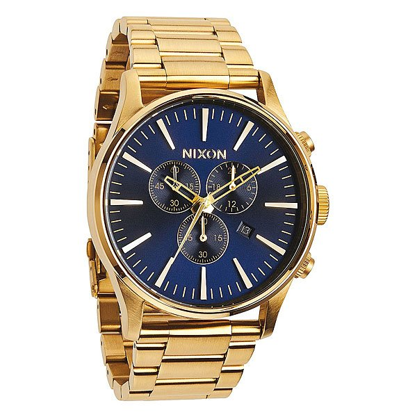 Часы Nixon Sentry Chrono Gold/Blue Sunray кварцевые часы nixon sentry chrono black rose gold