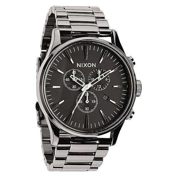 Часы Nixon Sentry Chrono Polished Gunmetal/Lum кварцевые часы nixon sentry chrono black multi