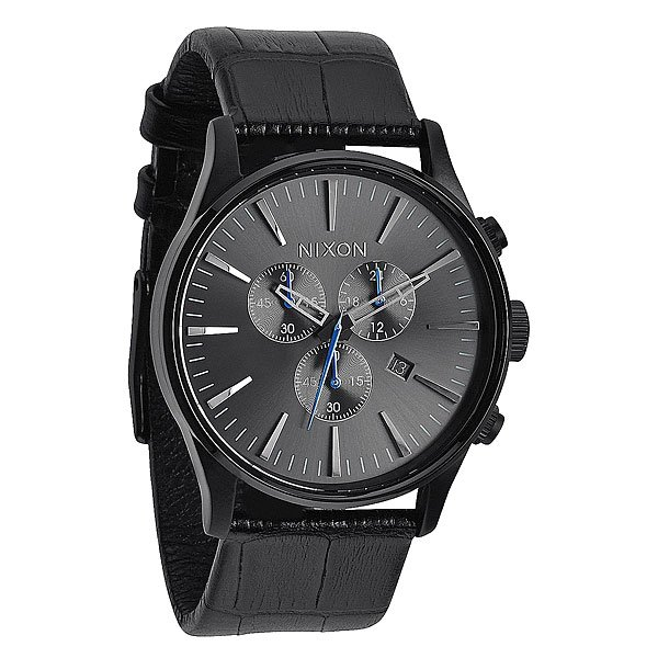Часы Nixon Sentry Chrono Leather Black Gator кварцевые часы nixon sentry chrono black multi