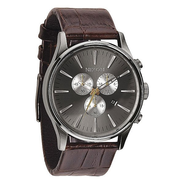 Часы Nixon Sentry Chrono Leather Brown Gator кварцевые часы nixon sentry chrono black rose gold