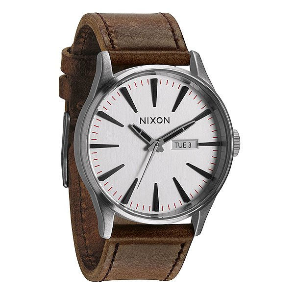 Часы Nixon Sentry Leather Silver/Brown часы nixon corporal ss all black