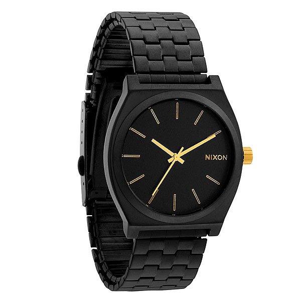 Часы Nixon Time Teller Matte Black/Gold<br><br>Цвет: черный<br>Тип: Кварцевые часы<br>Возраст: Взрослый<br>Пол: Мужской