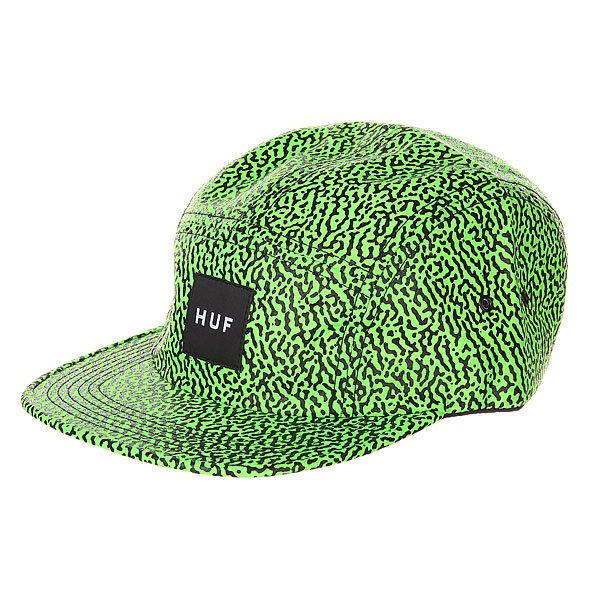 Бейсболка пятипанелька Huf Hufmemphis Box Logo Volley Lime<br><br>Цвет: зеленый<br>Тип: Бейсболка пятипанелька<br>Возраст: Взрослый