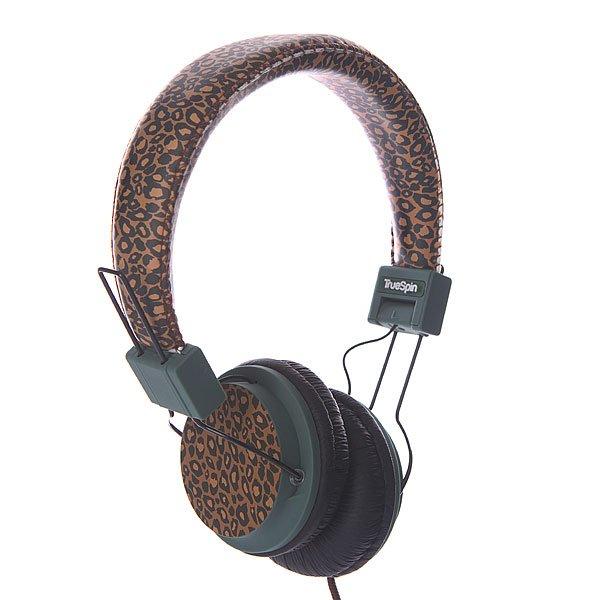 Наушники TrueSpin Basic Headphone LeopardНаушники от TrueSpin, в которых можно не только слушать музыку, но и отвечать на звонки благодаря встроенному микрофону. Обладают впечатляющим звуком с широким диапазоном частот от 20Гц до 20кГц.  Технические характеристики:   Длина провода: 150 см. Разъем: стандартный 3.5 jack, подходящий практически ко всем музыкальным плеерам и современным телефонам. Диапазон частот: от 20Гц до 20кГц. Чувствительность: 103dB+3dB. Сопротивление: 32 Ом.<br><br>Цвет: коричневый,зеленый<br>Тип: Полноразмерные наушники<br>Возраст: Взрослый