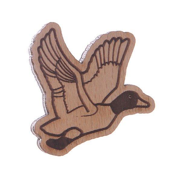 Значок Запорожец Х Waf-Waf ДичьДеревянный значок в форме летящей утки с гравировкой от российского бренда Запорожец.Технические характеристики: Материал - дерево.Гравировка.Застежка - булавка.<br><br>Цвет: коричневый<br>Тип: Значок