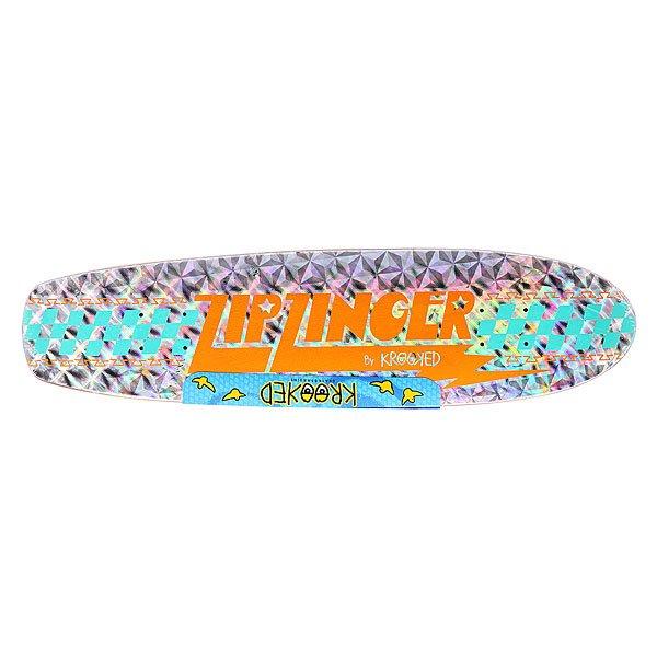 Дека для скейтборда для лонгборда Krooked Zinger Holo Zinger 30.35 x 7.5 (19.1 см)Ширина деки: 7.5 (19.1 см)    Длина деки: 30.35 (77.1 см)    Количество слоев: 7<br><br>Цвет: серый<br>Тип: Дека для лонгборда