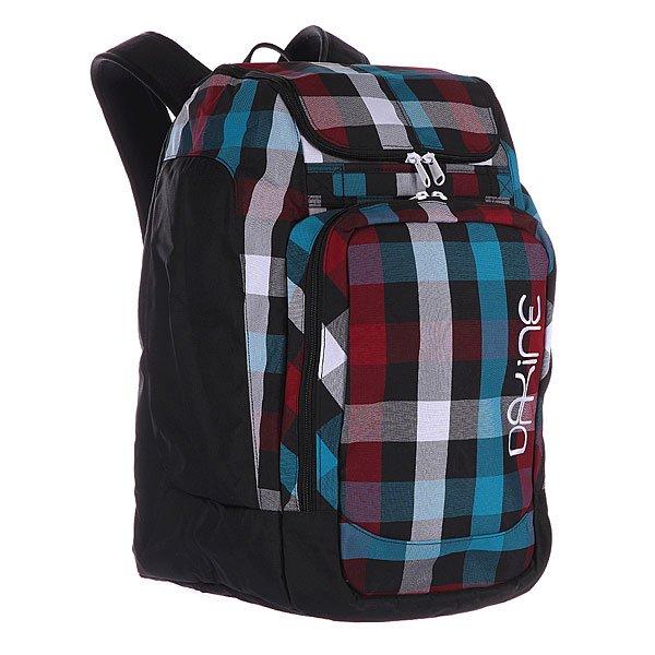 Рюкзак школьный женский Dakine Womens Boot Pack HighlandПоходный рюкзак, предназначенный для транспортировки лыжных или сноубордических ботинок и шлема. Он отлично подойдет всем, кто не любит брать с собой несколько неудобных сумок, а предпочитает все компактно и удобно разместить в одну. Характеристики:  Большое основное отделение на молнии с верхним доступом для хранения и перевозки, лыжных или каких либо других ботинок. Карман для лыжной маски.  Отделение для хранения и транспортировки шлема, расположенное над отделением для ботинок. Мягкие регулируемые лямки. Защитная уплотненная задняя панель. Ручка для переноски в руках. Передний накладной карман. Может использоваться для хранения перчаток, шапки и прочих мелочей (ключей, кошелька).<br><br>Цвет: фиолетовый,голубой<br>Тип: Рюкзак школьный<br>Возраст: Взрослый<br>Пол: Женский