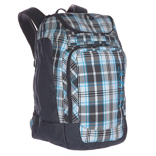 Рюкзак школьный женский Dakine Womens Boot Pack DylonПоходный рюкзак, предназначенный для транспортировки лыжных или сноубордических ботинок и шлема. Он отлично подойдет всем, кто не любит брать с собой несколько неудобных сумок, а предпочитает все компактно и удобно разместить в одну. Характеристики:  Большое основное отделение на молнии с верхним доступом для хранения и перевозки, лыжных или каких либо других ботинок. Карман для лыжной маски.  Отделение для хранения и транспортировки шлема, расположенное над отделением для ботинок. Мягкие регулируемые лямки. Защитная уплотненная задняя панель. Ручка для переноски в руках. Передний накладной карман. Может использоваться для хранения перчаток, шапки и прочих мелочей (ключей, кошелька).<br><br>Цвет: голубой,серый<br>Тип: Рюкзак школьный<br>Возраст: Взрослый<br>Пол: Женский