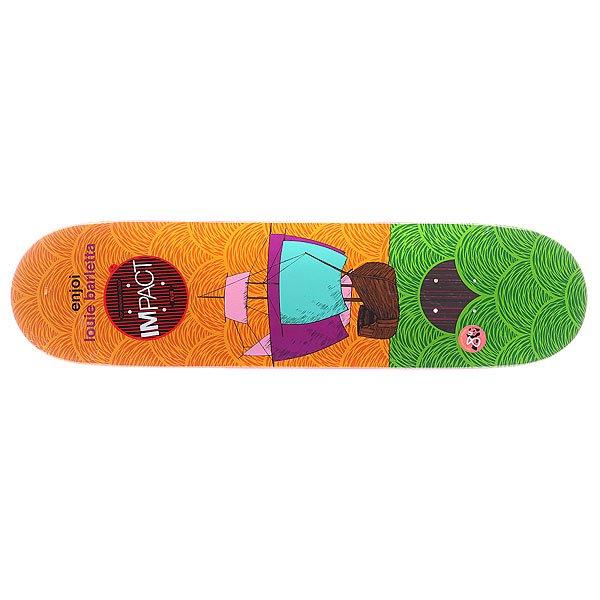 Дека для скейтборда для скейтборда Enjoi S5 Barletta Vessels Impact Plus Orange/Green 31.7 x 8.0 (20.3 см)Ширина деки: 8.0 (20.3 см)    Длина деки: 31.7 (80.5 см)    Количество слоев: 7<br><br>Цвет: оранжевый,зеленый<br>Тип: Дека для скейтборда<br>Возраст: Взрослый<br>Пол: Мужской