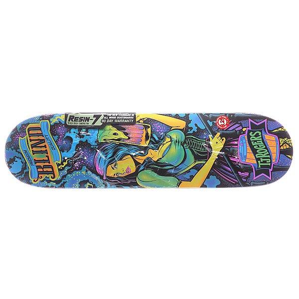 Дека для скейтборда для скейтборда Blind S5 Romar Ultra Violet R7 Multicolor 31.125 x 7.75 (19.7 см)Ширина деки: 7.75 (19.7 см)    Длина деки: 31.125 (79.1 см)    Количество слоев: 7<br><br>Цвет: мультиколор<br>Тип: Дека для скейтборда<br>Возраст: Взрослый<br>Пол: Мужской