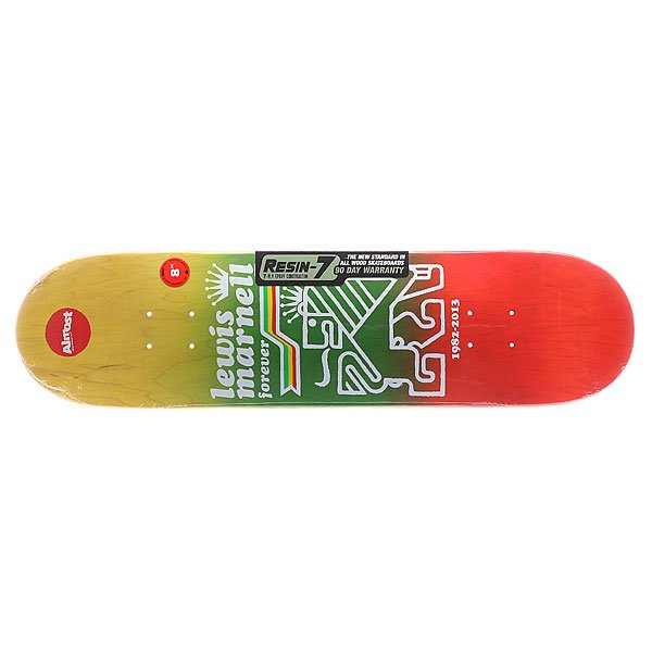 Дека для скейтборда для скейтборда Almost S5 Lewis Farewell R7 Rasta 31.6 x 8.0 (20.3 см) стоимость