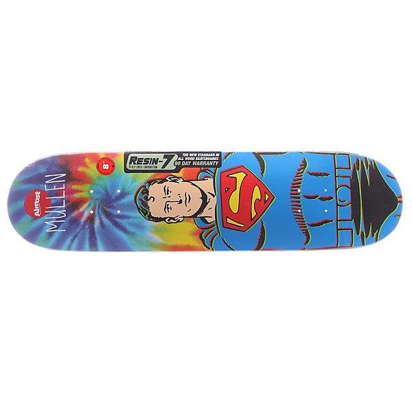 Дека для скейтборда для скейтборда Almost S5 Mullen Superman Tiedye R7 Blue 31.7 x 8.0 (20.3 см)Ширина деки: 8.0 (20.3 см)    Длина деки: 31.7 (80.5 см)    Количество слоев: 7<br><br>Цвет: синий<br>Тип: Дека для скейтборда<br>Возраст: Взрослый<br>Пол: Мужской