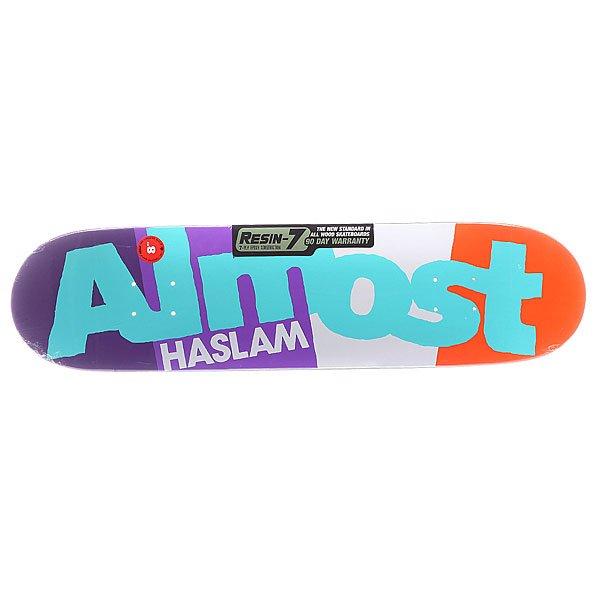 Дека для скейтборда для скейтборда Almost S5 Haslam C-block R7 Purple/White/Orange 31.7 x 8.0 (20.3 см)Ширина деки: 8.0 (20.3 см)    Длина деки: 31.7 (80.5 см)    Количество слоев: 7<br><br>Цвет: фиолетовый,белый,оранжевый<br>Тип: Дека для скейтборда<br>Возраст: Взрослый<br>Пол: Мужской