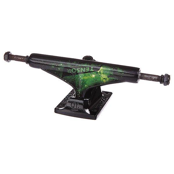Подвеска для скейтборда 1шт. Tensor Alum Reg Tens Colored Cosmic Green 5.5 (21 см)Ширина подвесок: 5.5 (21 см)    Высота подвесок: 57 мм    Цена указана за 1 шт    Минимальное количество для заказа 2 шт<br><br>Цвет: черный,зеленый<br>Тип: Подвеска для скейтборда