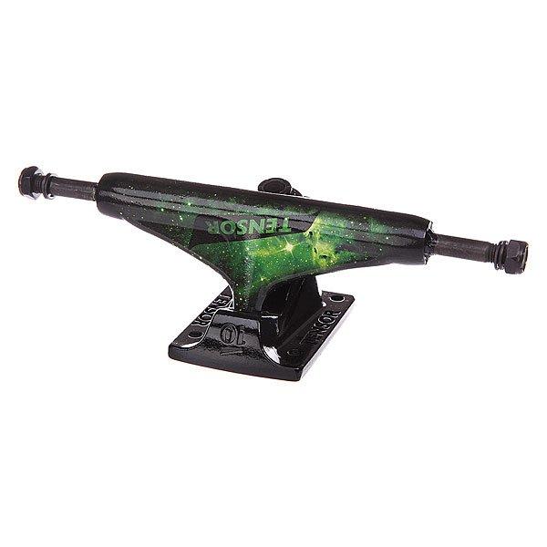 Подвеска для скейтборда 1шт. Tensor Alum Reg Tens Colored Cosmic Green 5.25 (20.3 см)Ширина подвесок: 5.25 (20.3 см)    Высота подвесок: 56 мм    Цена указана за 1 шт    Минимальное количество для заказа 2 шт<br><br>Цвет: черный,зеленый<br>Тип: Подвеска для скейтборда
