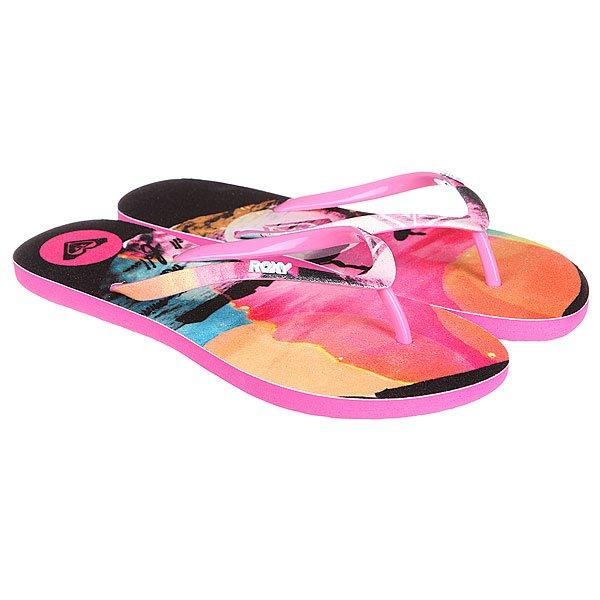 Шлепанцы женские Roxy Bahama Scenic J Black<br><br>Цвет: розовый,черный,мультиколор<br>Тип: Вьетнамки<br>Возраст: Взрослый<br>Пол: Женский