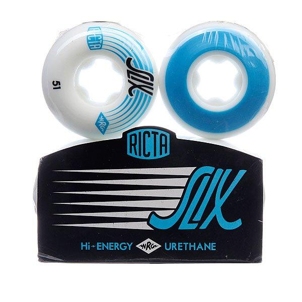 Колеса для скейтборда для скейтборда Ricta Slix White 81B 51 mmДиаметр: 51 mm    Жесткость: 81B    Цена указана за комплект из 4-х колес<br><br>Цвет: белый,синий<br>Тип: Колеса для скейтборда