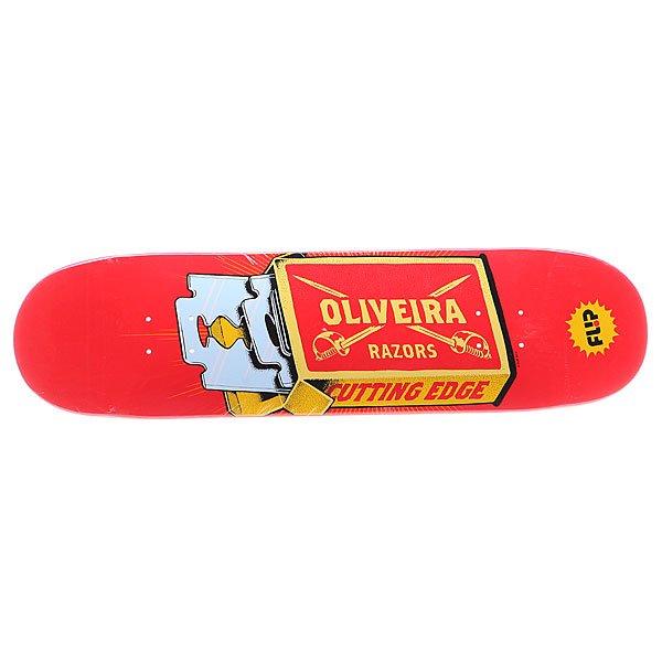 Дека для скейтборда для скейтборда Flip S5 Oliveira Razor 32 x 8.13 (20.7 см)Ширина деки: 32 (81.3 см)    Длина деки: 8.13 (20.7 см)    Количество слоев: 7<br><br>Цвет: красный,желтый,голубой<br>Тип: Дека для скейтборда