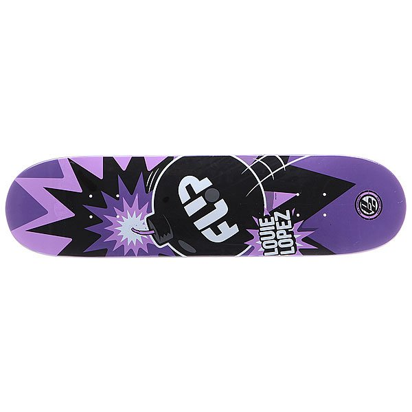 Дека для скейтборда для скейтборда Flip S5 Lopez P2 Boom 31.5 x 8.0 (20.3 см)Ширина деки: 8.0 (20.3 см)    Длина деки: 31.5 (80 см)    Количество слоев: 7<br><br>Цвет: черный,белый,фиолетовый<br>Тип: Дека для скейтборда