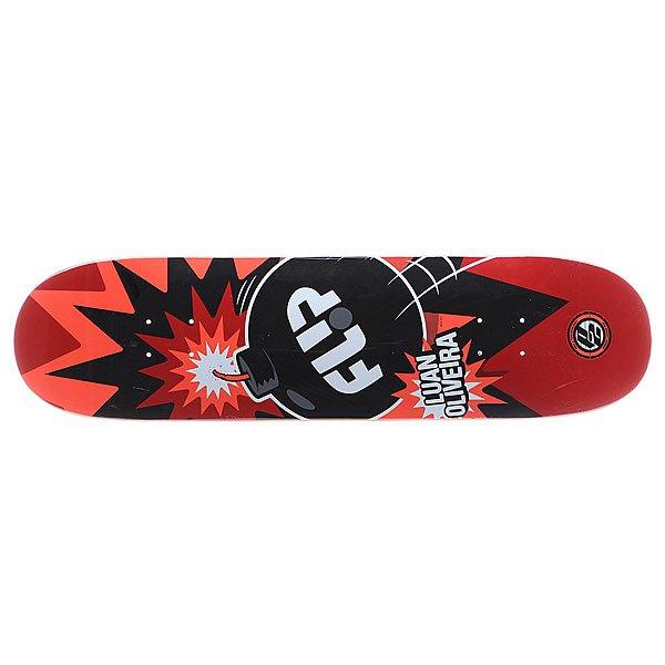 Дека для скейтборда для скейтборда Flip S5 Oliveira P2 Boom 32 x 8.13 (20.7 см)Ширина деки: 8.13 (20.7 см)    Длина деки: 32 (81.3 см)    Количество слоев: 7<br><br>Цвет: черный,белый,красный<br>Тип: Дека для скейтборда