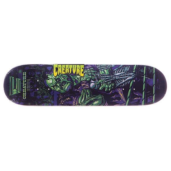 Дека для скейтборда для скейтборда Creature S5 Creaturemania Hitz 31.9 x 8.2 (20.8 см)Ширина деки: 8.2 (20.8 см)    Длина деки: 31.9 (81 см)    Количество слоев: 7<br><br>Цвет: фиолетовый,зеленый<br>Тип: Дека для скейтборда