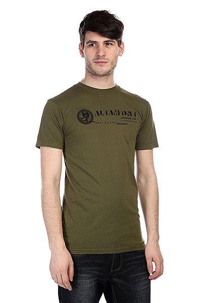 Футболка Altamont Wolfgauge Tee Olive<br><br>Цвет: зеленый<br>Тип: Футболка<br>Возраст: Взрослый<br>Пол: Мужской