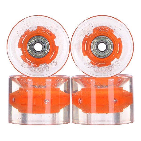 Колеса для скейтборда для лонгборда с подшипниками Sunset Cruiser Wheel With Abec9 Orange 78A 59 mmДиаметр: 59 mm    Жесткость: 78A    Цена указана за комплект из 4-х колес    В комплект входят восемь подшипников Abec-9, восемь шайбочек на оси и четыре втулки.<br><br>Цвет: прозрачный,оранжевый<br>Тип: Колеса для лонгборда