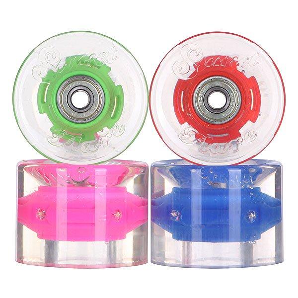 Колеса для скейтборда для лонгборда с подшипниками Sunset Cruiser Wheel With Abec9 Hippy Blue/Green/Red/Pink 78A 59 mmДиаметр: 59 mm    Жесткость: 78A    Цена указана за комплект из 4-х колес    В комплект входят восемь подшипников Abec-9, восемь шайбочек на оси и четыре втулки.<br><br>Цвет: прозрачный,мультиколор<br>Тип: Колеса для лонгборда