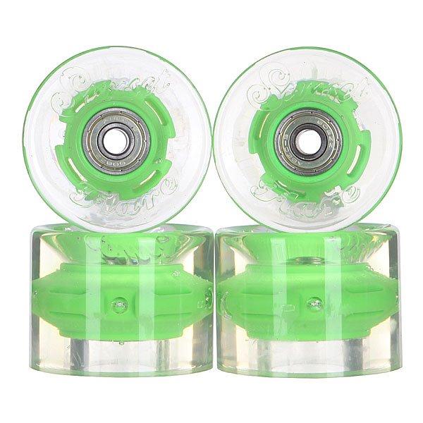 Колеса для скейтборда для лонгборда с подшипниками Sunset Cruiser Wheel With Abec9 Green 78A 59 mmДиаметр: 59 mm    Жесткость: 78A    Цена указана за комплект из 4-х колес    В комплект входят восемь подшипников Abec-9, восемь шайбочек на оси и четыре втулки.<br><br>Цвет: прозрачный,зеленый<br>Тип: Колеса для лонгборда