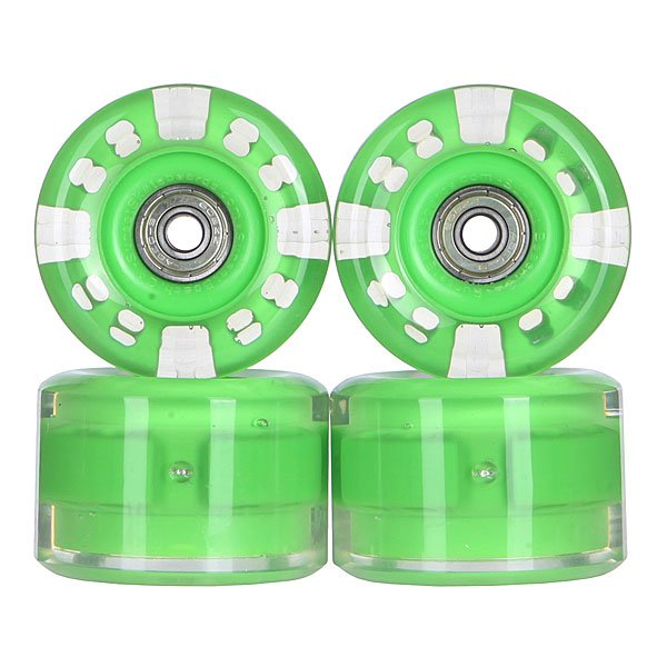 Колеса для скейтборда для лонгборда с подшипниками Sunset Long Board Wheel With Abec9 Green 78A 65 mmДиаметр: 65 mm    Жесткость: 78A    Цена указана за комплект из 4-х колес    В комплект входят восемь подшипников Abec-9, восемь шайбочек на оси и четыре втулки.<br><br>Цвет: прозрачный,зеленый<br>Тип: Колеса для лонгборда