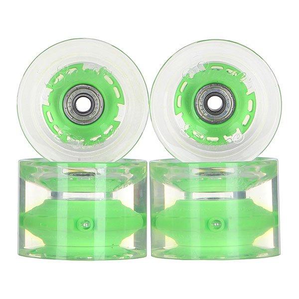 Колеса для скейтборда для лонгборда с подшипниками Sunset Long Board Wheel With Abec9 Green 78A 69 mmДиаметр: 69 mm    Жесткость: 78A    Цена указана за комплект из 4-х колес    В комплект входят восемь подшипников Abec-9, восемь шайбочек на оси и четыре втулки.<br><br>Цвет: прозрачный,зеленый<br>Тип: Колеса для лонгборда